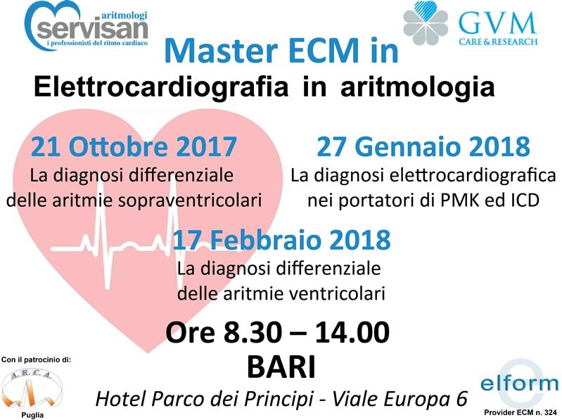 Master Elettrocardiografia in Cardiologia  Ottobre 2017/ Febbraio 2018 Hotel Parco  dei Principi, Bari
